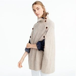 J Crew Tan Wool Poncho Cape Button Sweater Jacket